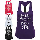 Run Like You're Late For Platform 9 3/4 Ladies Strap Back Vest - Funny Gym Top