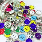 Silver edged smart 4 hole buttons 10 colours 15mm sold per 5 buttons