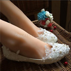 Wedding shoes white light ivory lace Pearl Bridal Flat/low/heels pumps size 5-11