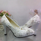 White lace crystal Wedding shoes Bridal flats high heels pumps size 5-10