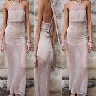 Women Hollow Out Bodycon Backless Evening Party Cocktail Club Long Maxi Dress US