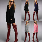 Women's Pullover V-neck Long Sleeve Casual Blouse Loose Short Dress Top T-Shirt