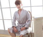 Men's Sleepwear Silk Satin Nightie Night Gown Robe Lingerie Sleepwear Pyjamas