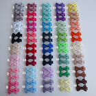 "Pair of 1.5"" Inch Ribbon Hair Bow Alligator Clip Grip Slide 40 Colours  UK Stock"