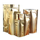 Gold Aluminum Foil Stand Up Package Bags Mylar Zip Lock Food Grade Pouch