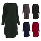 Womens Ladies Midi Tunic Necklace Dress Shirt Top Casual Abaya Summer