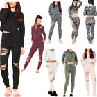 New Ladies Ripped Distressed Joggers Hooded Crop Loungwear 2 Piece Tracksuit Set