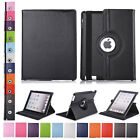 360 Rotating Leather PU Smart Stand Protector Soft Case Cover For iPad 2 / 3 / 4