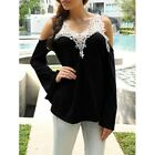 BOHEMIAN BLACK COLD SHOULDER & LACE FRONT TOP LONG BELL SLEEVES Sizes 12-14