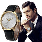 Men's Fashion Stainless steel Luxury Leather Band Analog Quartz Wrist Watches AU