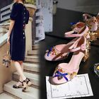 Suede Womens Special Block Heel Bowknot Round Toe Ankle Strap Hollow Shoes Plus
