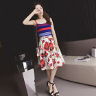 16 New High-End Fashion Style Runway Hot Sale Sling Vest  Printing Skirt Suits