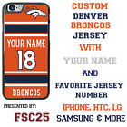 Custom DENVER BRONCOS ORANGE Jersey Phone Case Cover w Your Name & Jersey Number