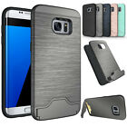 Hybrid Silicone Shockproof Card Slots Stand Case For Samsung Galaxy S7 / S7 Edge