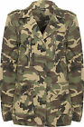 Womens Camouflage Combat Jacket Ladies Long Sleeve Button Zip Pocket Coat 8-14
