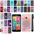 For Nokia Lumia 530 Various Design TPU SILICONE Soft Protective Case Cover + Pen