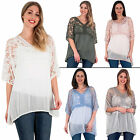 New Womens Batwing Floral Net Mesh Silk Casual Party Blouse Top Plus Size 10 16