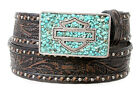 Harley-Davidson Womens Turquoise Buckle Vintage Brown Leather Belt by LODIS