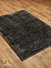 SMALL X LARGE SIZE THICK BLAC D.GREYSOFT SHAGGY RUG NON SHED PILE MODERN RUGS
