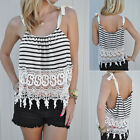 Women's Summer White Blouse Lace Vest Sleeveless Casual Tank Crop Tops T-Shirt
