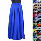 Womens Girls 16MM 100% Pure Silk Full Circle Long Flare Skirts Length 90cm/35""