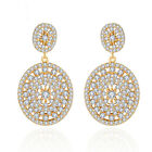 CZ Paved White and Gold Color Vintage Oval Big Dangle Drop Earrings