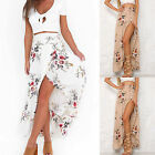 Sexy Womens High Waisted Floral Bodycon Slit Ladies Summer Long Maxi Skirt Dress