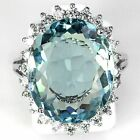 Charming Jewelry 925 Silver Aquamarine Ruby Gem Ring Women Engagement Size 6-10