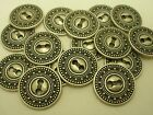 New Lots of Silver Metal Buttons Fancy  Pattern sizes 13/16, 11/16, 5/8, 1/2 #SC