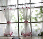 a pair white grid pink lace Home Kitchen window Sheer Cafe Curtain 17031513