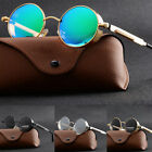 Round Mirrored Sunglasses Vintage Polarized Steampunk Fashion Retro Eyewear CHI
