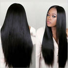 Natural Hair Wig Straight Heat Resistant Synthetic Lace Front Wigs Black Color