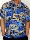 MENS BLUE CREAM PALM TREE FISH PATTERN HAWAIIAN WEDDING SHIRT 5 SIZES S - 3XL