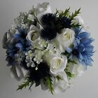 Wedding Bouquet Artificial Silk Rose Flower Scottish Blue Themed Thistle Bouquet