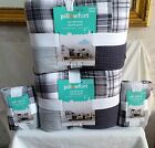 PILLOWFORT TWIN OR FULL/QUEEN QUILT OR  PILLOW SHAM BLACK PATCHWORK PLAID NEW