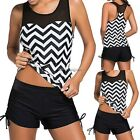 Women Sexy Tankini Mesh Padded Wire Free Two Pieces Beach Swimsuit NC8901