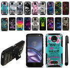 For Motorola Moto Z Force Droid Edition Hybrid Heavy Duty Stand Case Cover + Pen