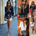Fashion Women Loose Long Sleeve V Neck Casual Ladies Chiffon T Shirt Blouse Tops