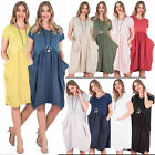Womens Scoop Neck Smock Design Cap Sleeve Pocket Cotton Dress Plus size 10 16 20