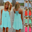 US Women's Summer Casual Sleeveless Evening Party Beach Dress Short Mini Dress