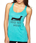 SLEEPS WITH WIENERS dog Dachshund funny pet lover cute Women's Tank Top