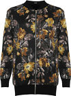 Plus Womens Zip Bomber Jacket Ladies Floral Print Long Sleeve Stretch Baggy New
