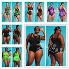 US New Push-up One-piece Swim Dress Swimsuit Bikini Swimwear Plus Size Tankini