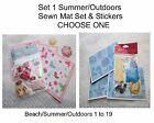 Set 1 - Summer/Outdoors-Sewn mat set & Stickers.Great for pages/cards.Choose One