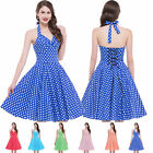 Womens Retro Vintage Halter Party Dress 50s Swing Cocktail Wiggle 60S Mini Dot