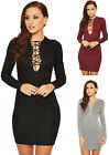 Womens Ribbed Short Mini Dress Ladies Tie Up Front Long Sleeve Bodycon Stretch