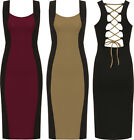 Womens Block Panel Party Dress Ladies Bodycon Tie Back Sleeveless Stretch 8-14