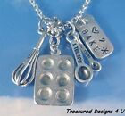 Bake Baking Pan Women's Culinary Fashion Charm Necklace Sterling Silver Chain