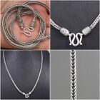HANDMADE BRAIDED SNAKE CHAIN MENS NECKLACE 925 STERLING SILVER 18 20 22 24 26""