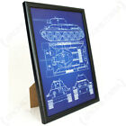 Soviet T-34 Tank Framed Blueprint - Print Picture Russian Military Army Framed